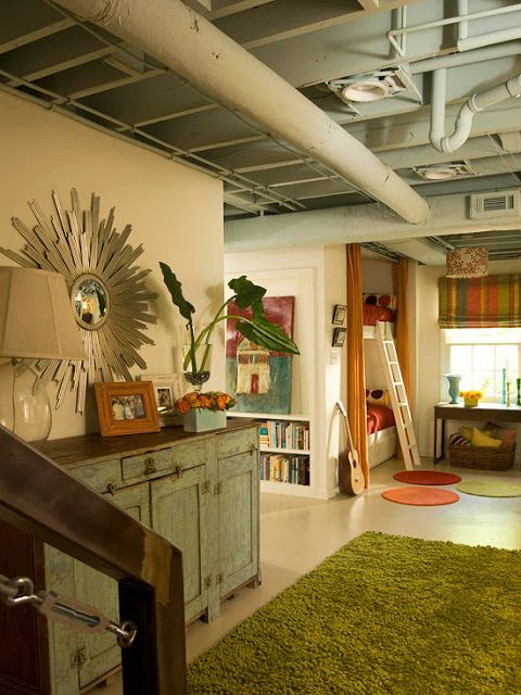 Unfinished Basement Ideas On A Budget Walls Exposed Ceilings