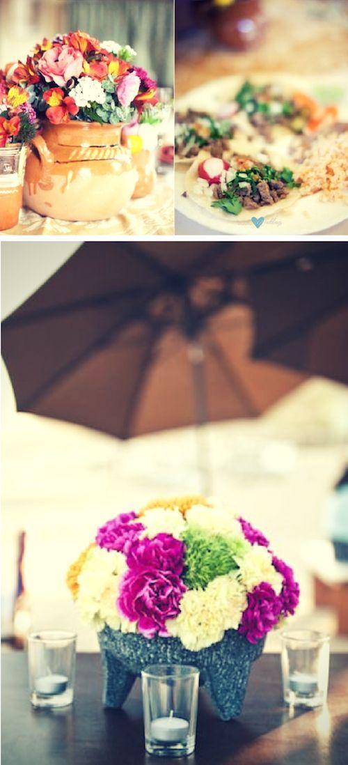 Bodas mexicanas elegantes y nicas inspiracin para su decoracin usa cermica mexicana para tus centros de mesa colorido centro de mesa para una boda estilo mexicano en el sheraton hacienda del mar en los cabos altavistaventures Gallery