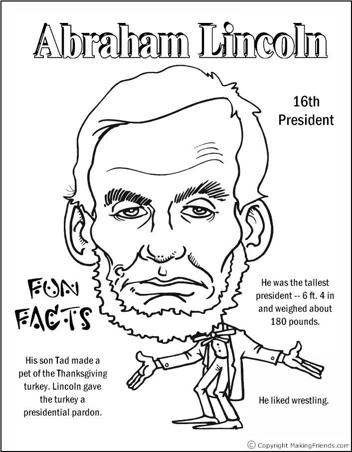 abraham lincoln coloring page printable