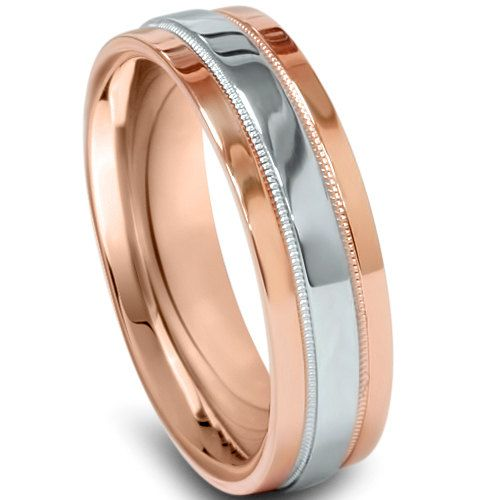 Rose Gold 950 Platinum Two Tone Mens Wedding Band By Pompeii3 599 99