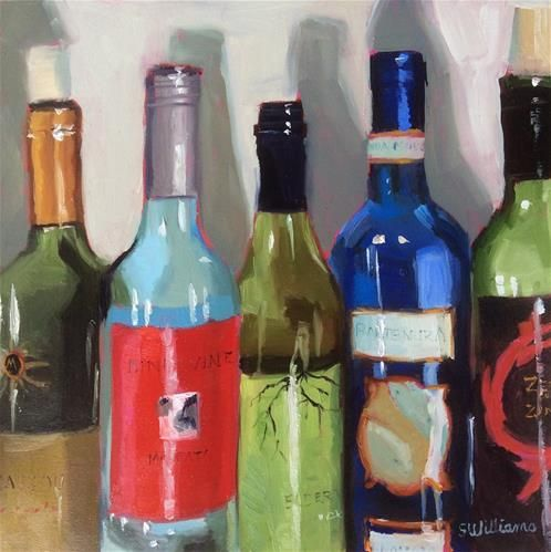 "Daily Paintworks - ""Five Wine Bottles 9"" - Original Fine Art for Sale - © Susan Williams"