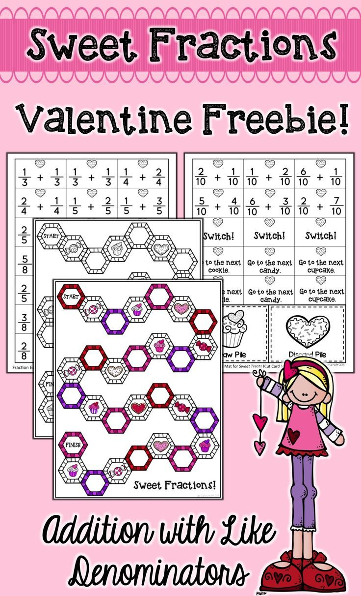 This Free Valentine Fractions Game Gives Students Practice Adding Fractions With Like Denominators Math Valentines Valentine Math Activities Math Fractions Adding fraction math games