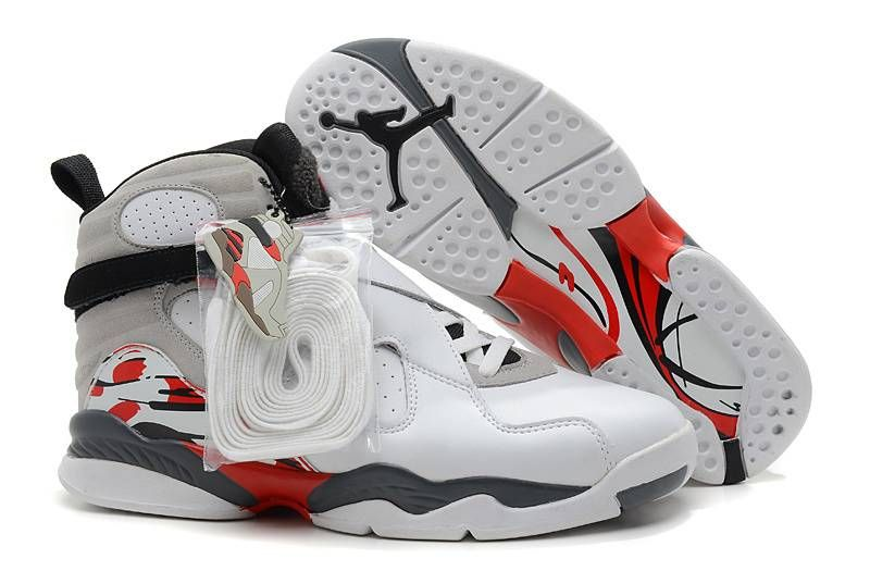 Air Jordan Retro 8 Womens White Blue Red shoes