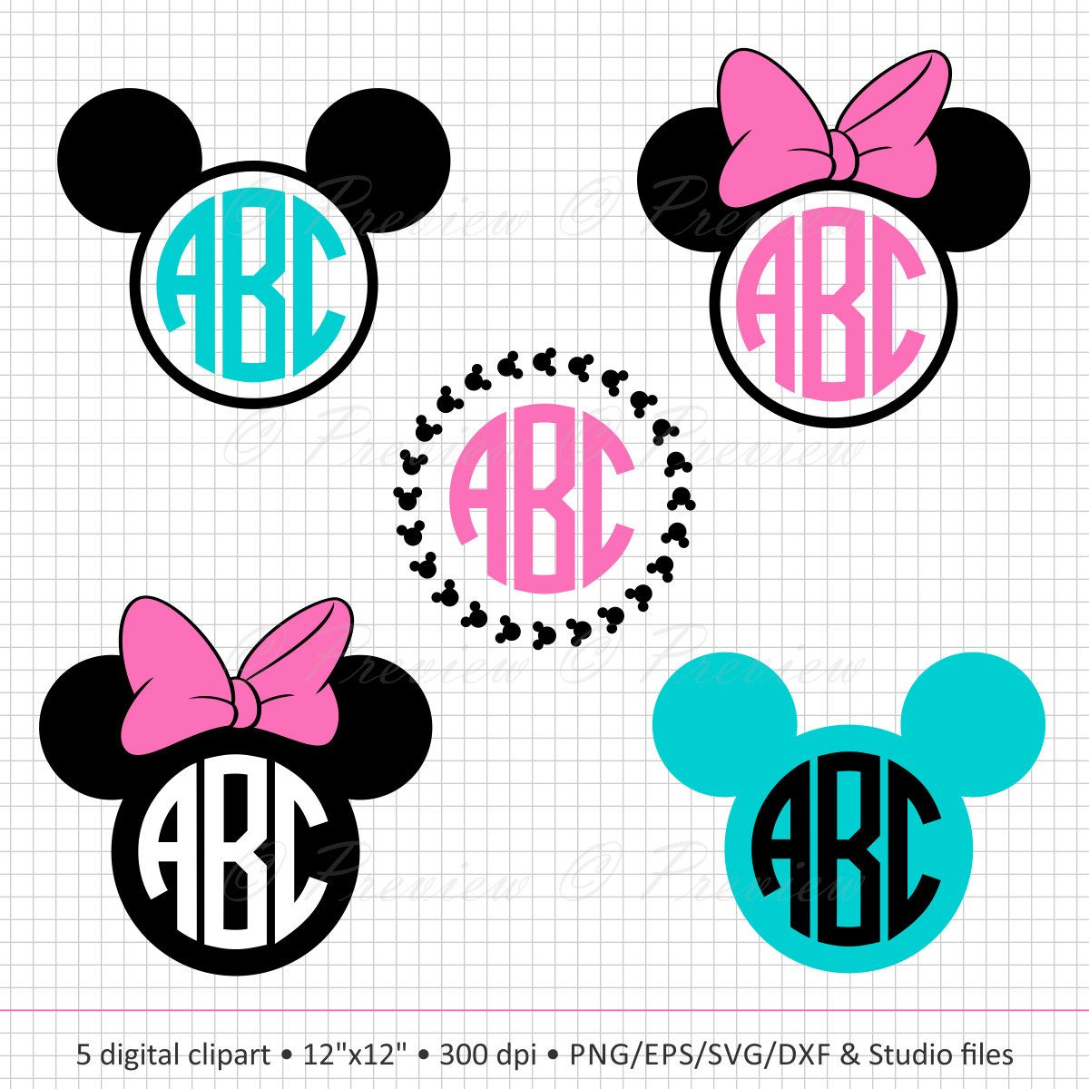 Buy 2 Get 1 Free! Digital Clipart Mickey Mouse Frames