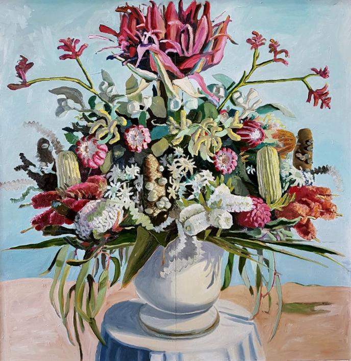 Jane Guthleben, A Lavish Bunch , 2017, Oil on Board, 120 x