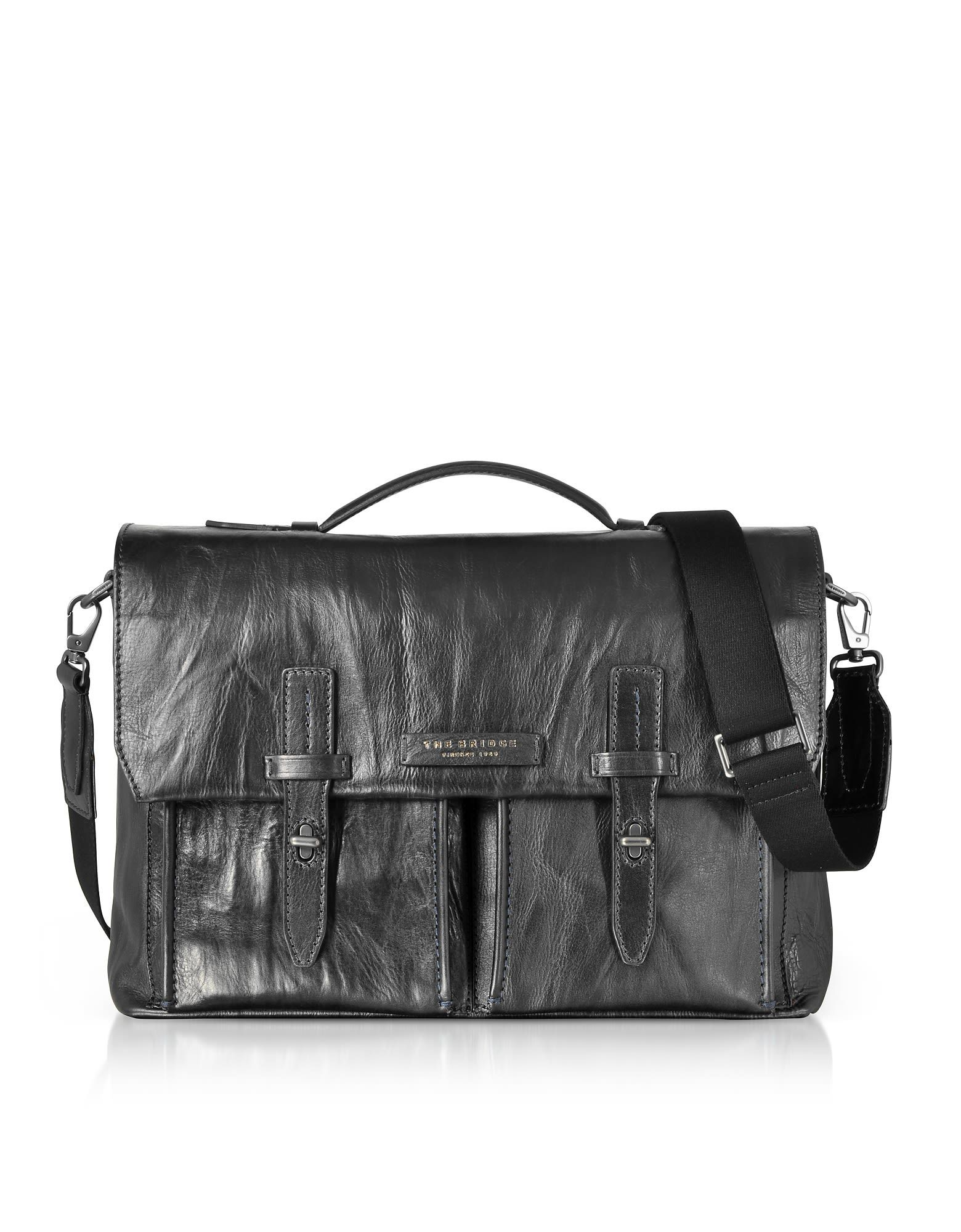 The Bridge Washed Calf Leather Briefcase W Shoulder Strap Thebridge Bags Hand Canvas Lining