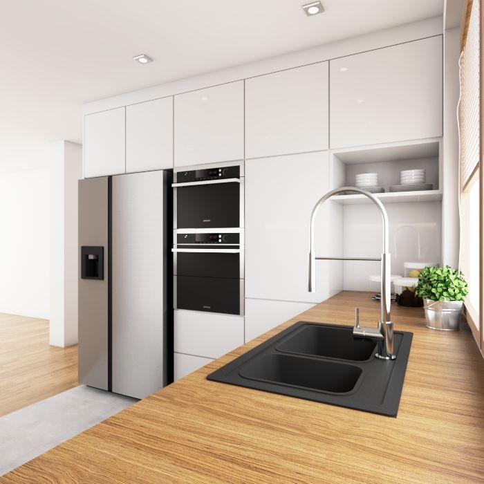 Biala Kuchnia Z Drewnianym Blatem Kitchen Inspiration Design New Kitchen Interior Small Modern Kitchens