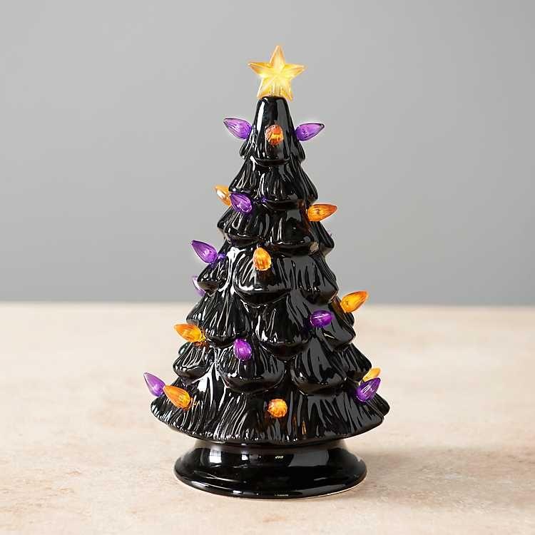 Lady Lake Christmas Lights 2020 Black Ceramic Orange and Purple Lit Halloween Tree from Kirkland's