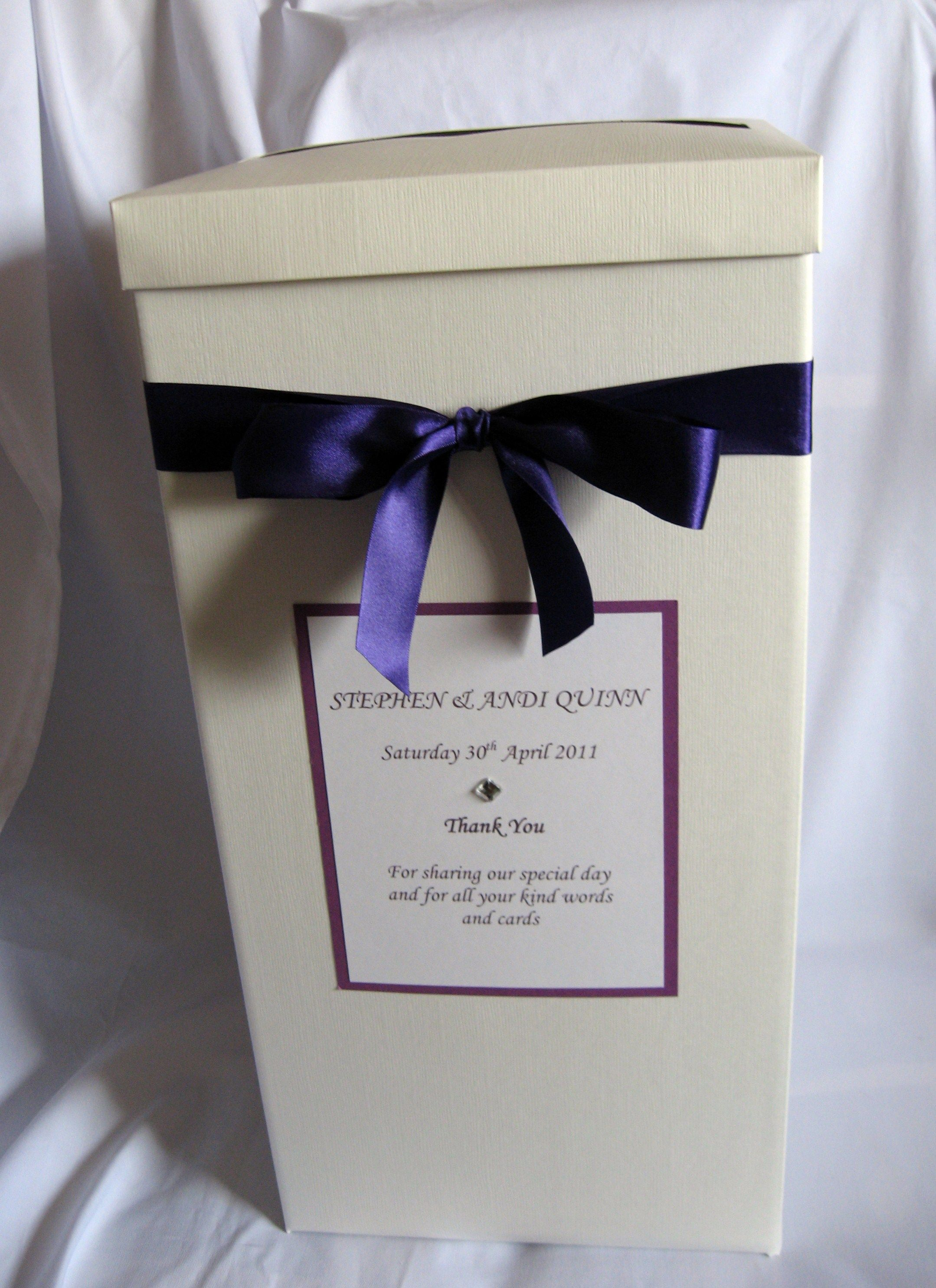 Cadbury Purple Wedding Card Post Box Wishing Well Available In Any Colour To Match