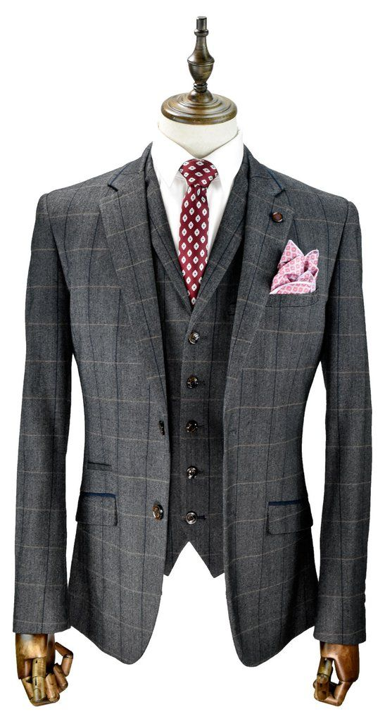 www.menstweedsuits.com Grey Box Checked Suit