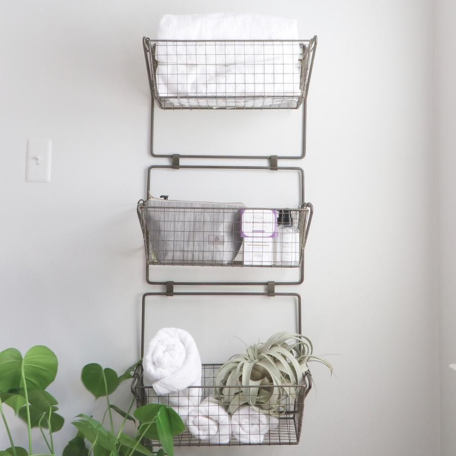 Three Tier Wire Basket Wall Hanging