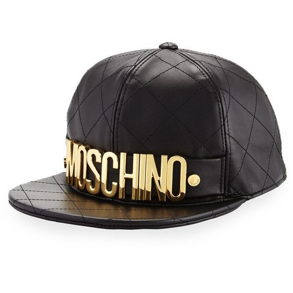 6c143f6af66be Moschino Quilted Leather Logo Baseball Hat ( 330) ❤ liked on Polyvore  featuring accessories