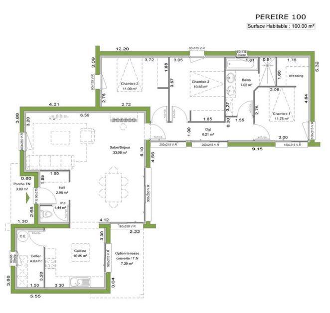 Maison ossature bois contemporaine - Plain pied - 125 m2 maison