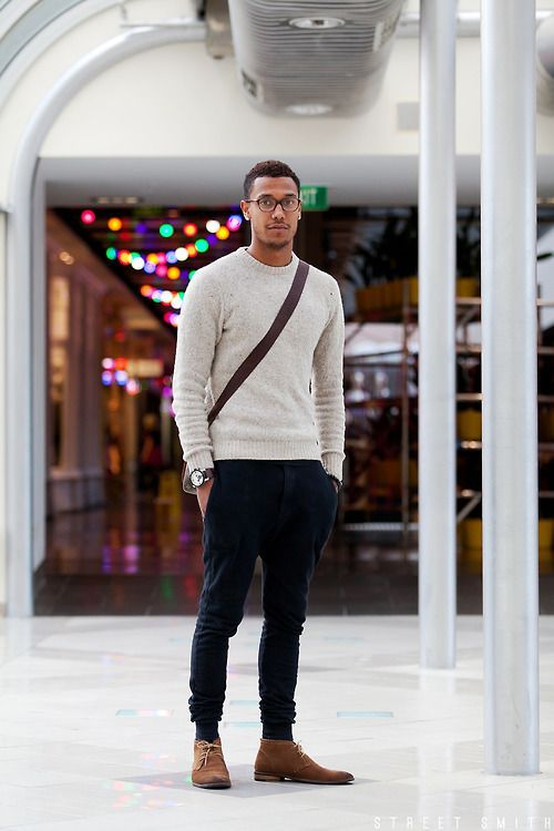 Men's Grey Crew-neck Sweater, Navy Corduroy Jeans, Brown Suede ...