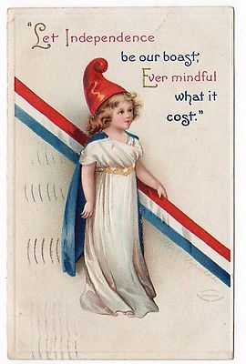 Patriotic very pretty girl with costume, Ellen Clapsaddle Vintage postcard 1913