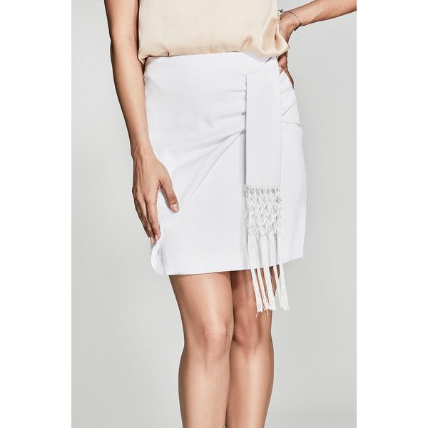 GUESS by Marciano Carlita Fringe Skirt ($138) ❤ liked on Polyvore featuring skirts, guess by marciano, fringe skirt and asymmetrical skirt