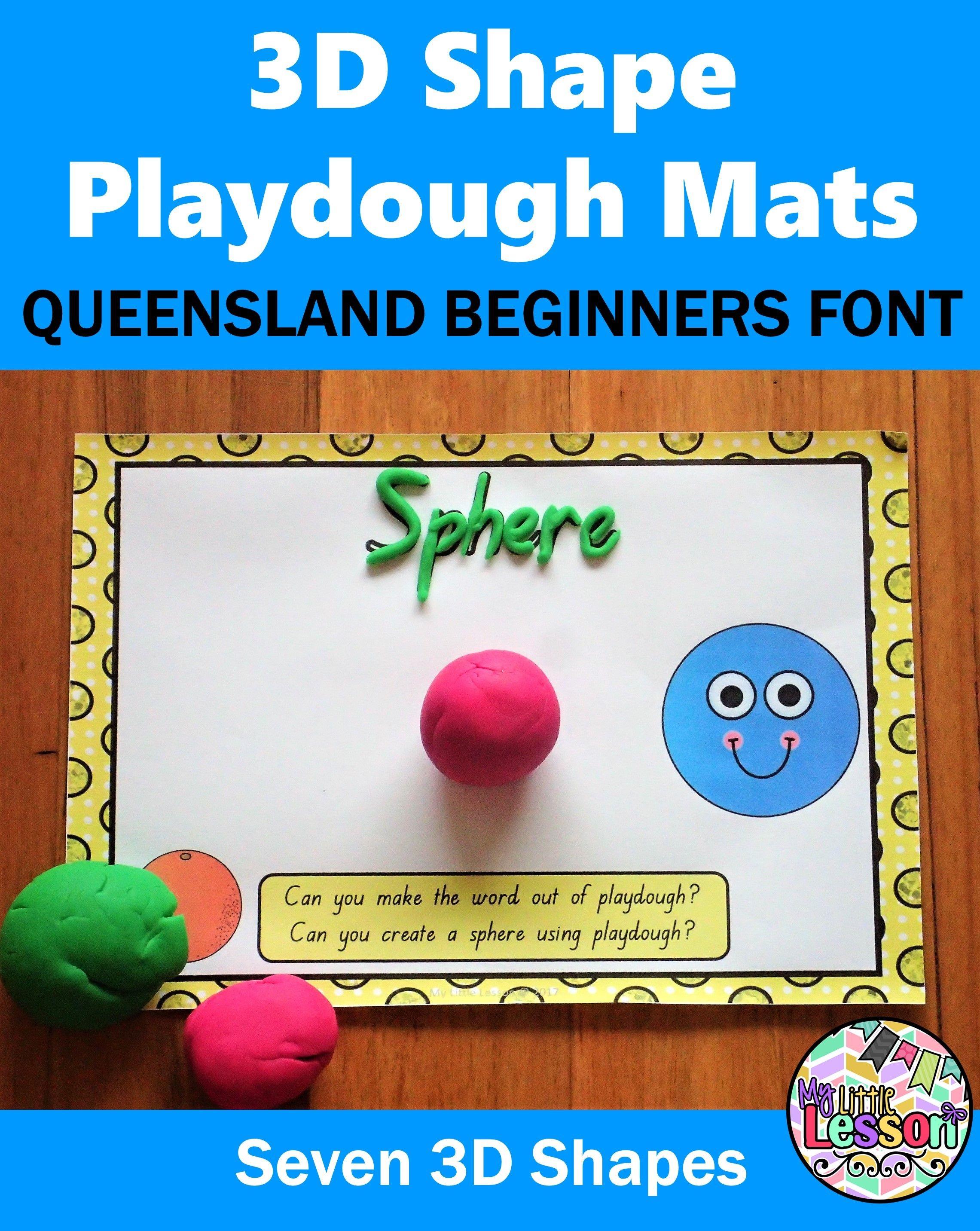 3d Shapes Playdough Mats Qld Beginners Font