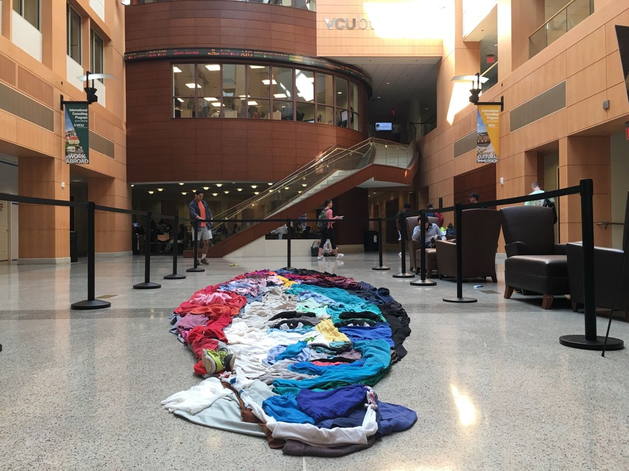 Art Installation Piece Made Of Donated Clothing In The VCU School Business Building