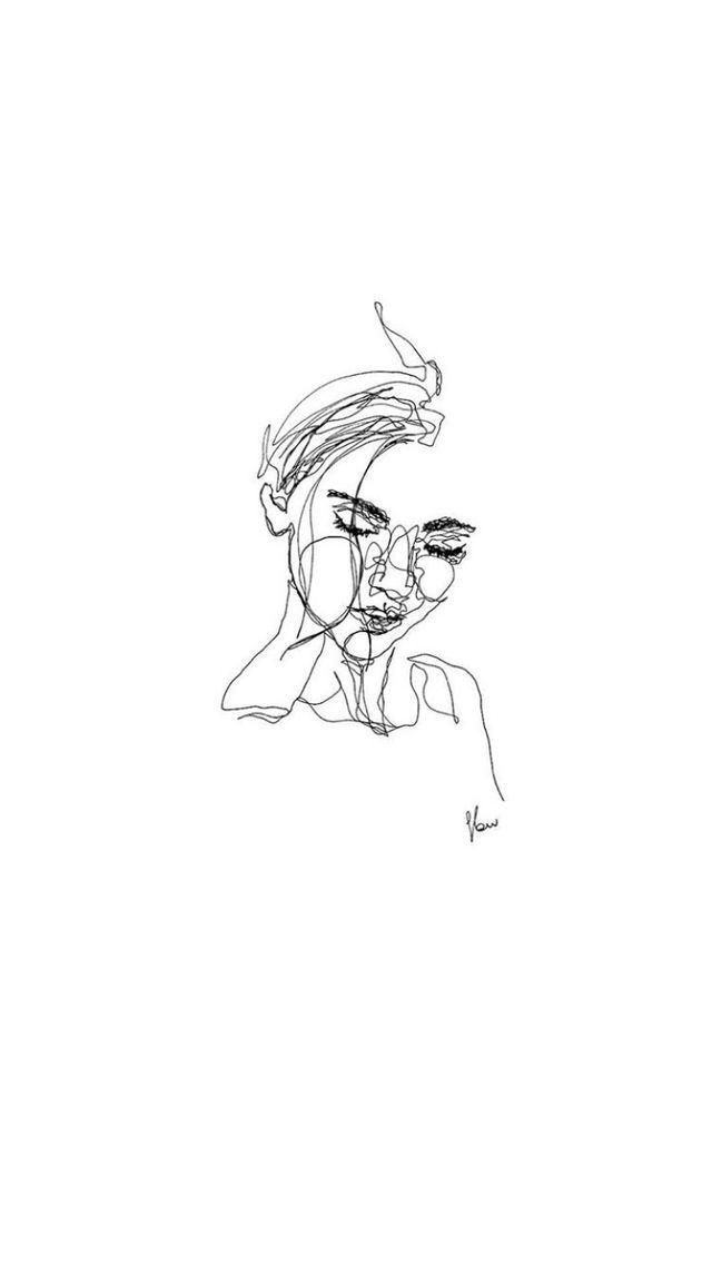 Phone Iphone Android Wallpaper Simple Aesthetic Pretty Girl Oneline Art White Line Art Drawings Minimalist Art Art Wallpaper