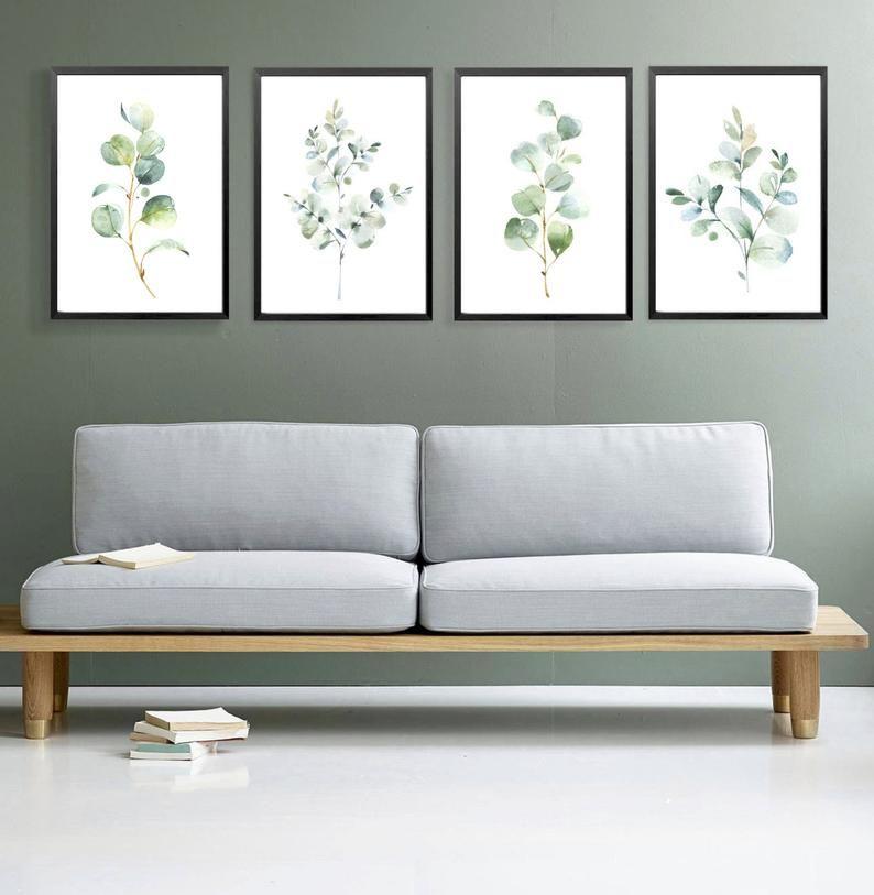4 Watercolor Eucalyptus Prints Botanical Print Set Greenery Etsy In 2020 Wall Art Prints Living Room Living Room Art Wall Decor Bedroom Wall art prints living room