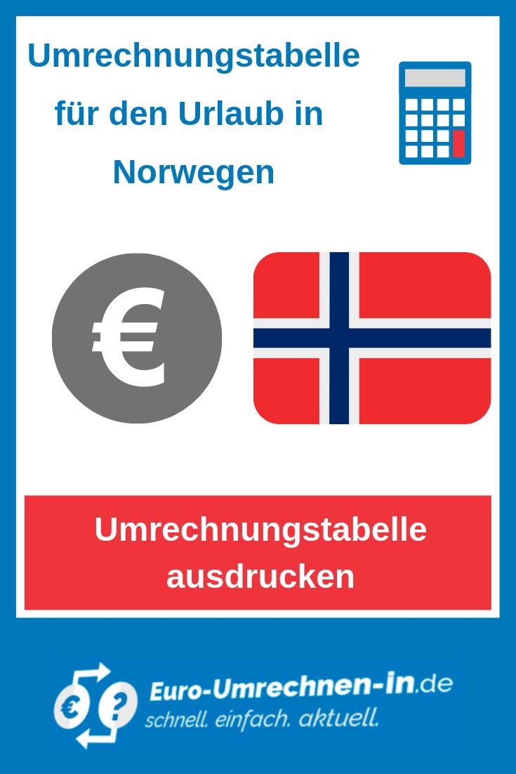 Umrechnungstabelle Norwegische Kronen In Euro Extra Fur Den Urlaub Norwegen Urlaub Norwegisch Umrechnungstabelle