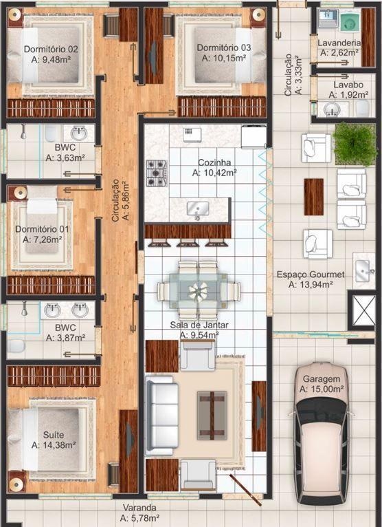 Plano de una casa 8x15 con 4 recamaras 4 dormitorios for Planos de casas 8x15