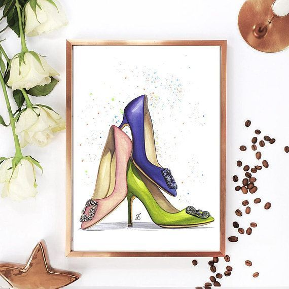 7274686e4cf Shoe illustration, Manolo Blahnik art, Manolo Blahnik shoes, Shoe ...