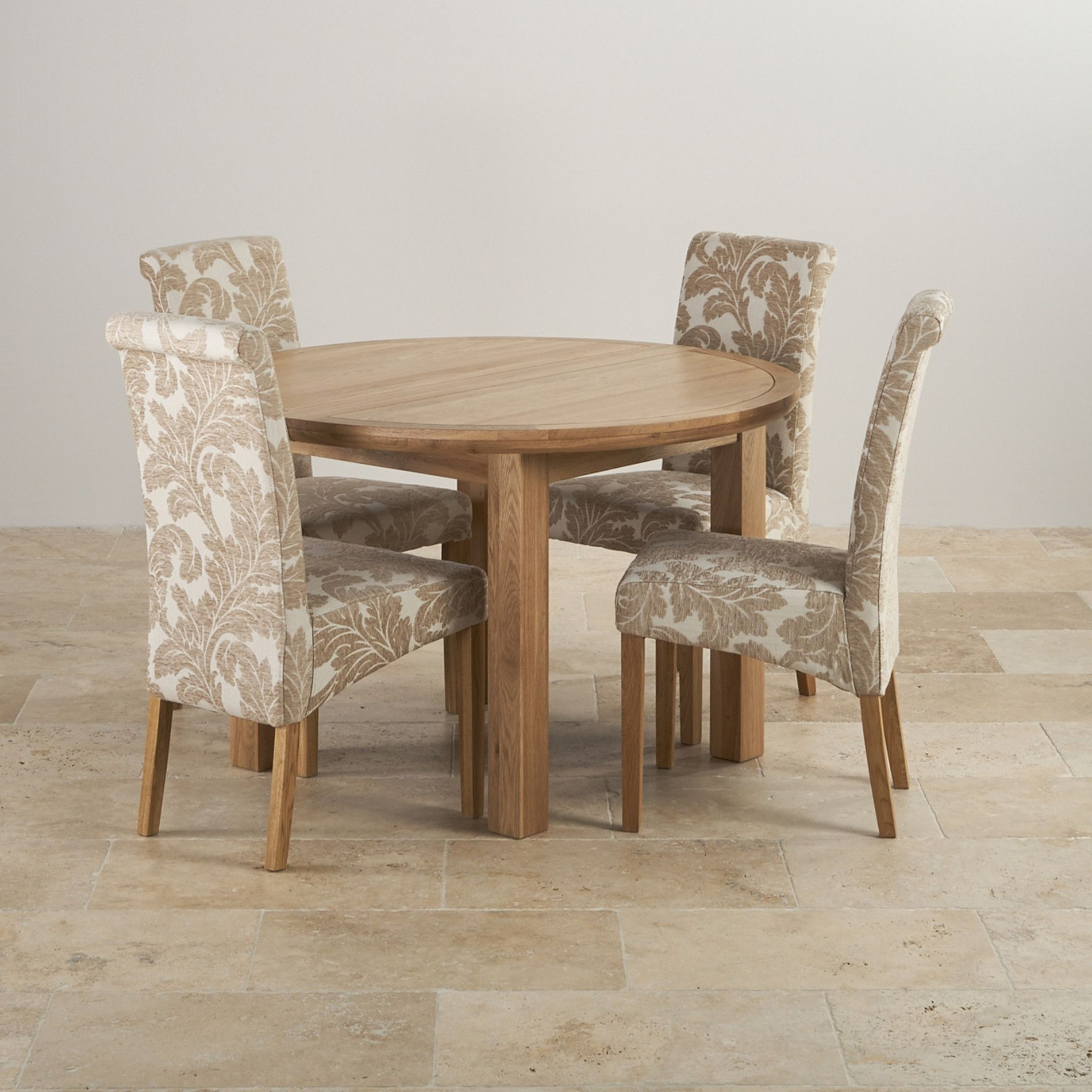 Knightsbridge Natural Oak Dining Set   4ft Round Extending Table W/ 4  Scroll Back Patterned Chairs