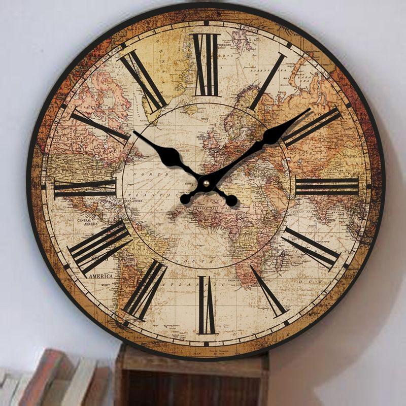 Europe Retro Clock Creative Living Room American Restaurant World Map Clock Simple Decorative Clock Bedroom Fashion Quartz Clock World Clock Wall Clock Clock
