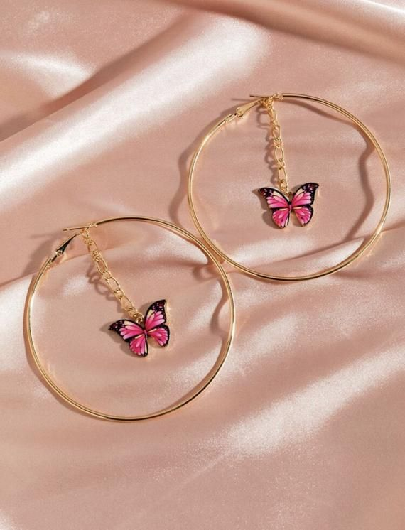 Pink or Blue or Orange Butterfly Large Gold Hoop Charm Earrings