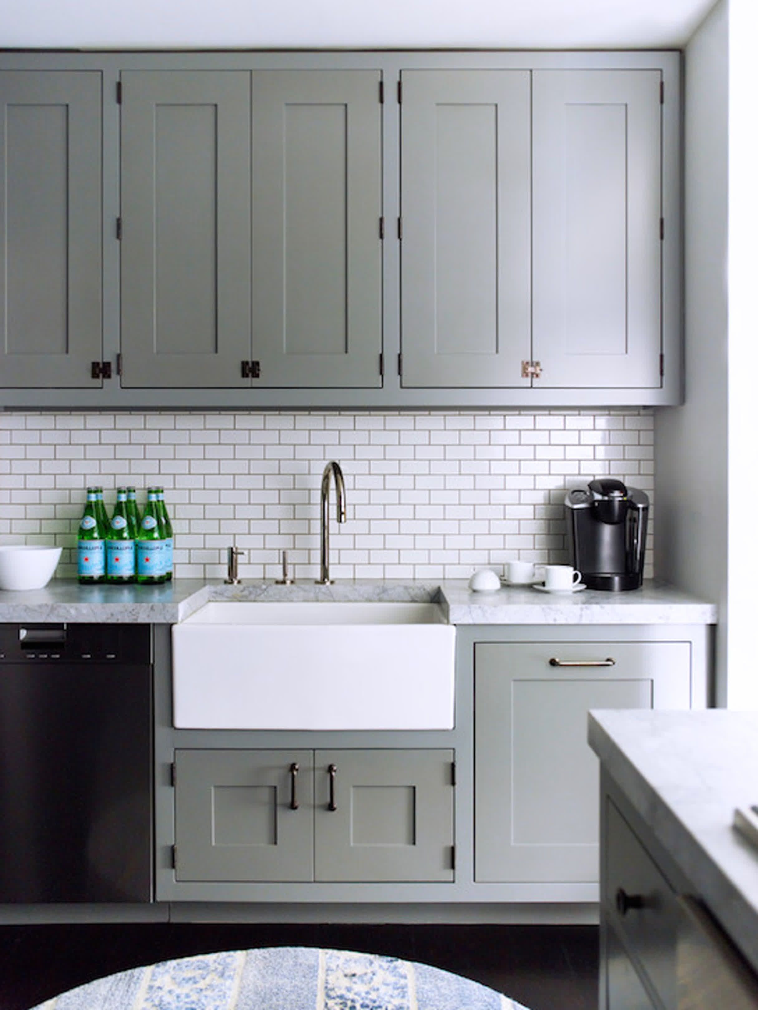 Gray Cabinets White Counters And Backsplash
