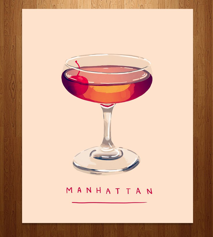 Manhattan Cocktail Art Print Cocktail Art Cocktail Illustration Manhattan Cocktail