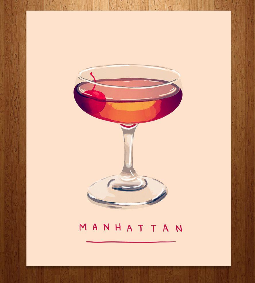 Manhattan Cocktail Art Print Cocktail Art Cocktail Illustration Manhattan Cocktail