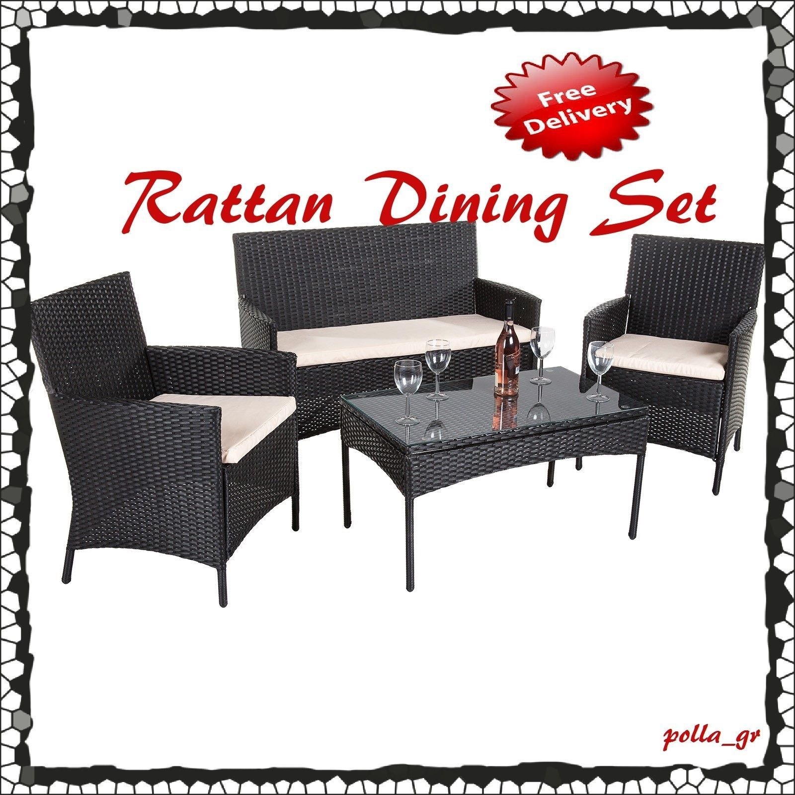 Rattan Furniture Garden Set Outdoor Patio Seater Bench