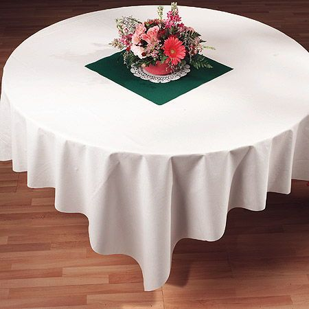 Superbe White Linen Like Paper Tablecloths   72 Inch