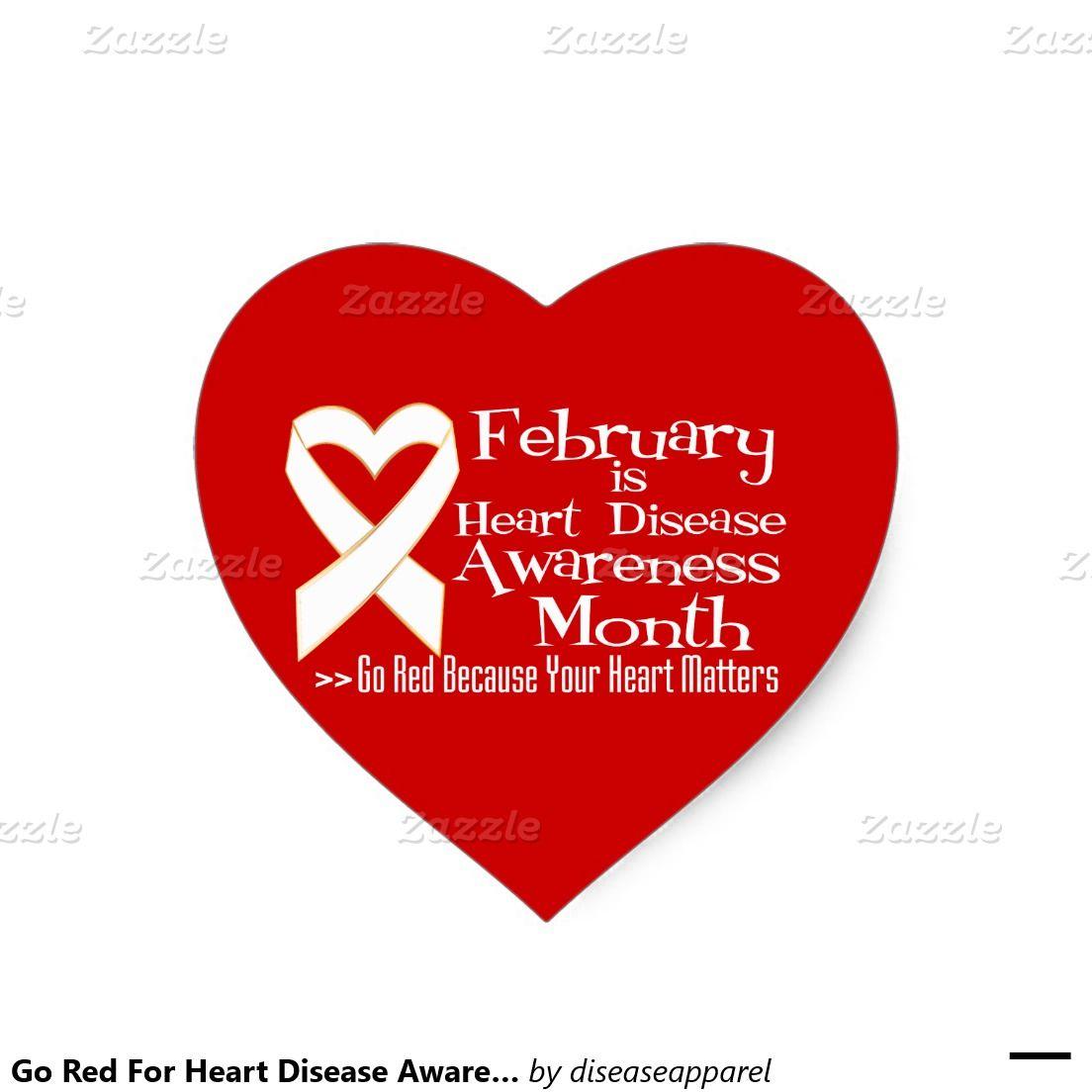 Go Red For Heart Disease Awareness Month Heart Sticker