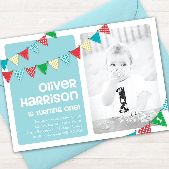 Boy First Birthday Invitation Bunting Banner Photo Printable Invite 1 Year Old 2 ANY Ag