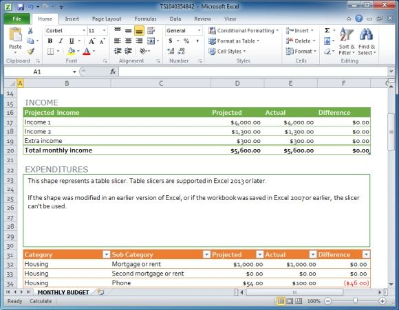 family monthly budget template for Excel free download at Office.com ...