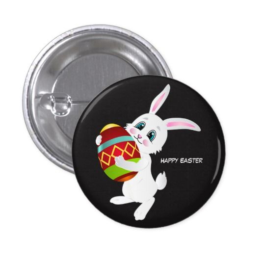 Cute Easter Bunny carrying egg Button
