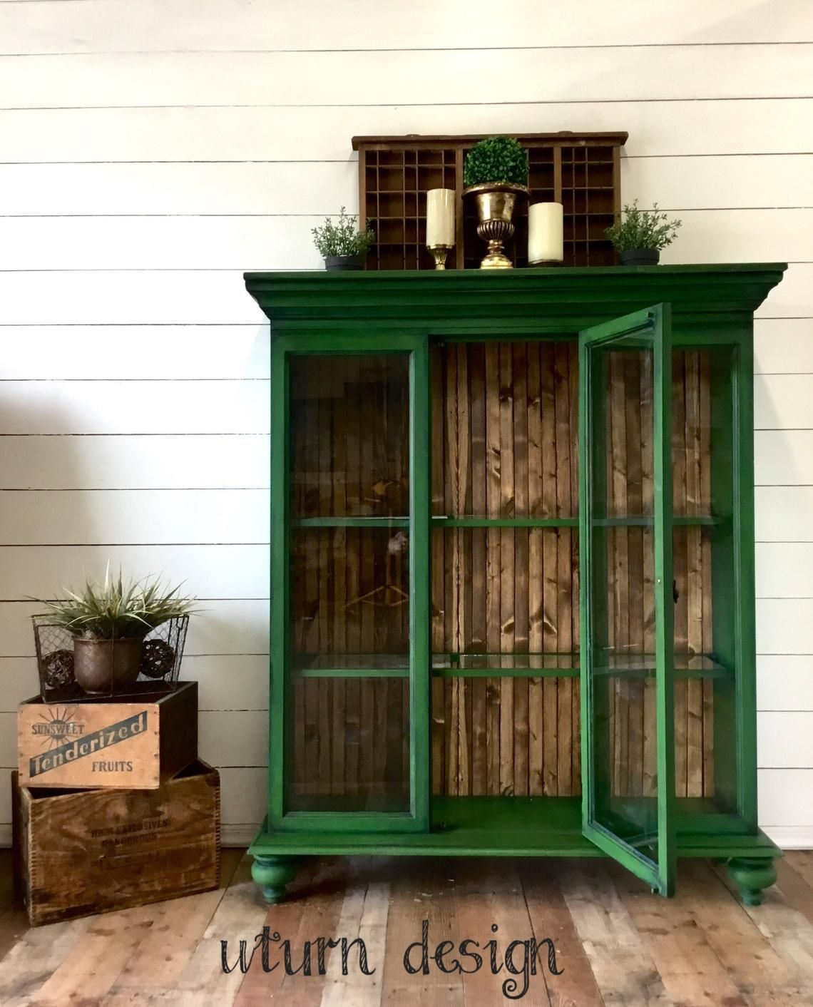 Sold!!!! Green painted hutch, rustic china cabinet, farmhouse display case image 0