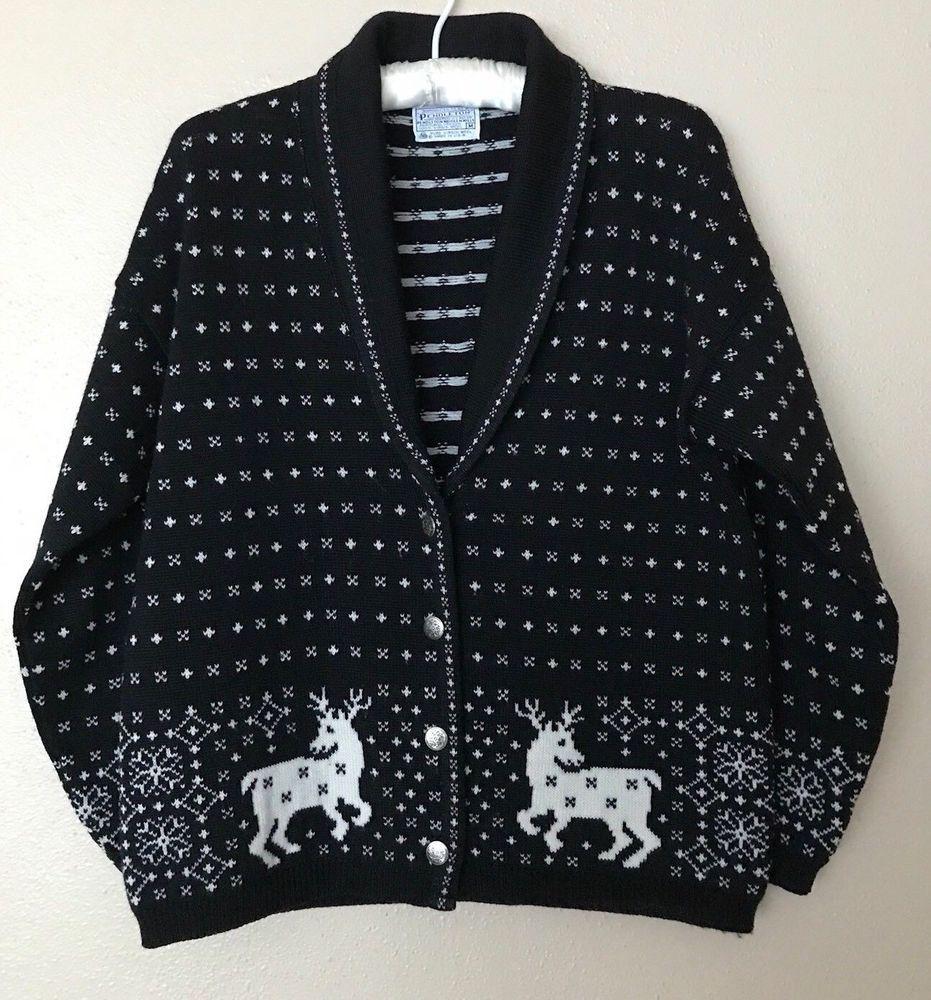 Pendleton Wool Reindeer Cardigan MED Fair Isle Black & White Wool ...