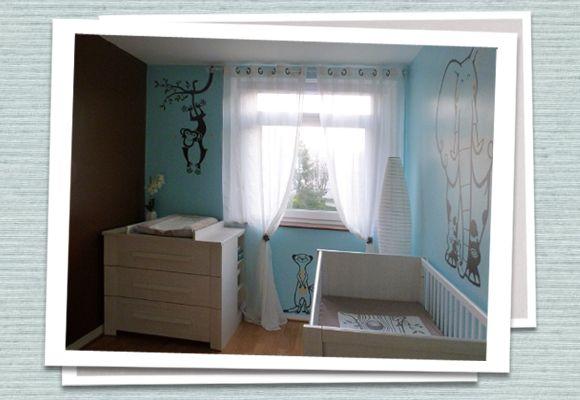 Chambre bebe garçon bleu et chocolat Stickers eglue | Happy\'so ...