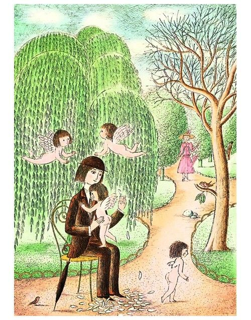 Affiches de dessin, reproduction de l'artiste Peynet Elle m'aime un peu, beaucoup...