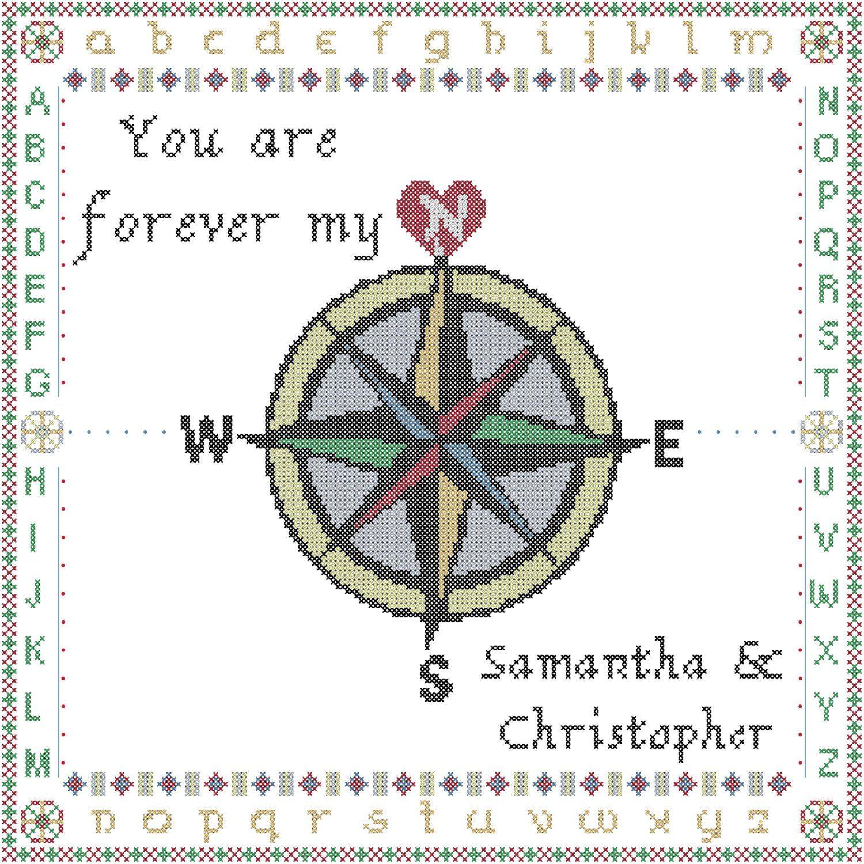True North Compass Rose Wedding Sampler Counted Cross