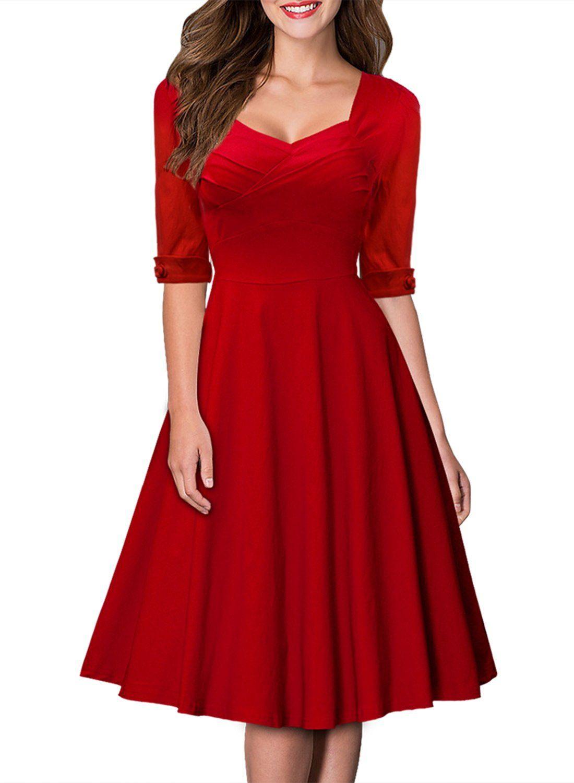 Miusol Women\'s Pleated Flared A-line Short Prom Dress: Amazon.co.uk ...