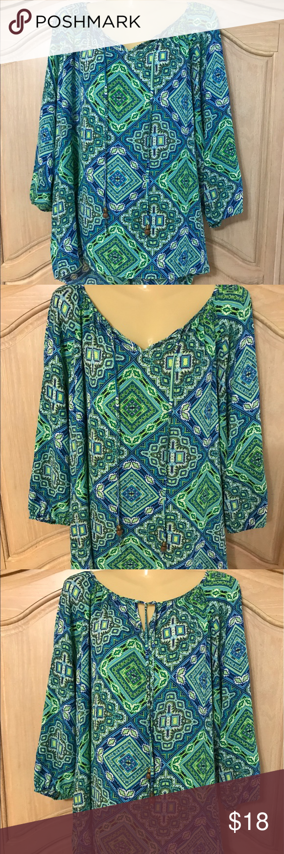 Designer counterparts blouse Blouse with long sleeves and low round neckline beautiful stamped size and lace in the back size xl counterparts Tops Blouses