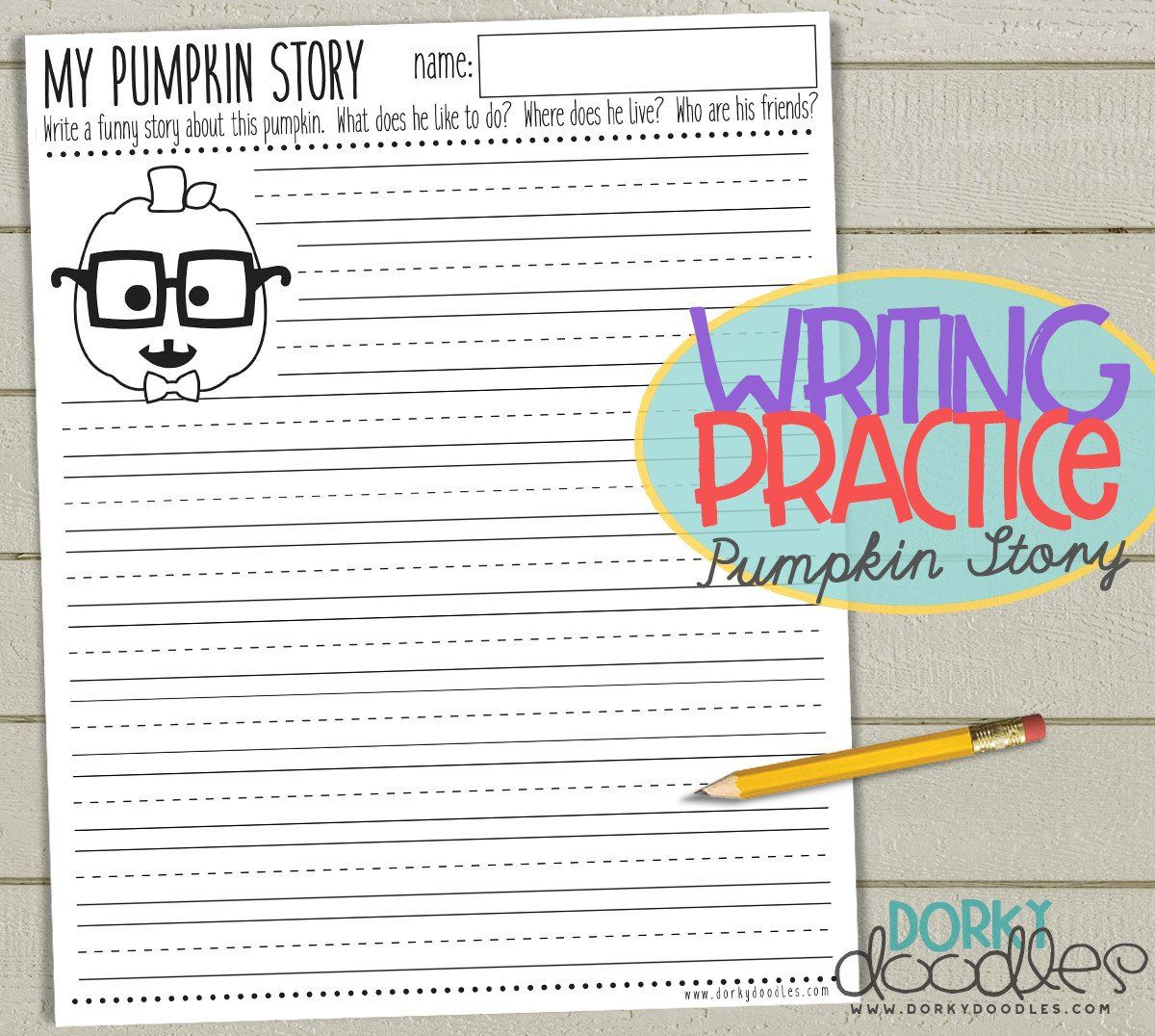 writing practice worksheet for fall - pumpkin story writing ...