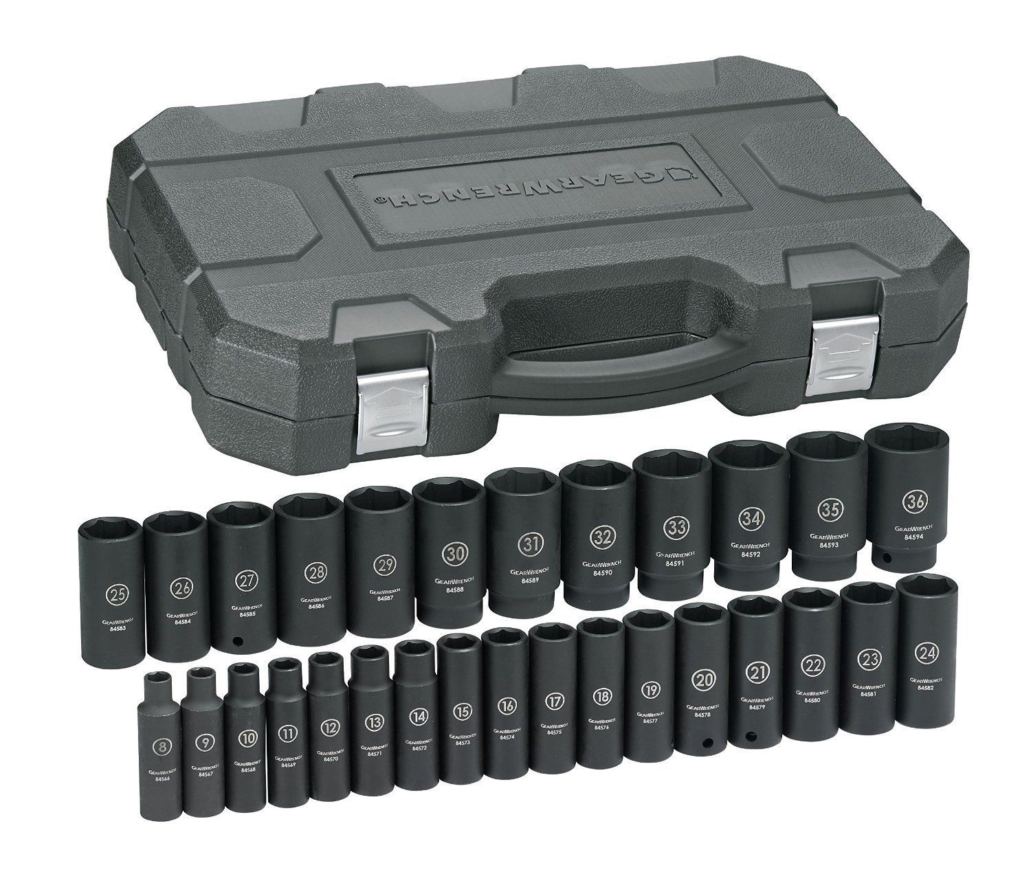 """Gearwrench 84934N 19 Piece 1//2/"""" Drive 6 Point Sae Deep Impact Socket Set"""