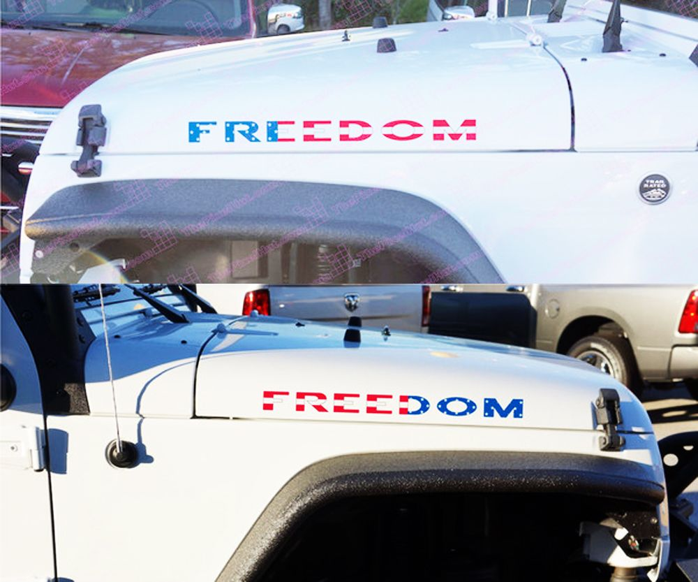 2 Jeep Usa Flag Freedom Hood Wrangler Yk Jk Xj Left Right Decals