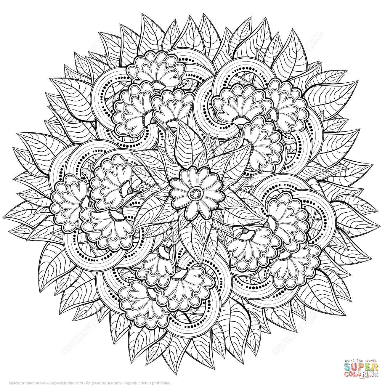 shelly beauchamp zen tangles coloring pages | Abstract Flowers Zentangle | Super Coloring | Páginas para ...